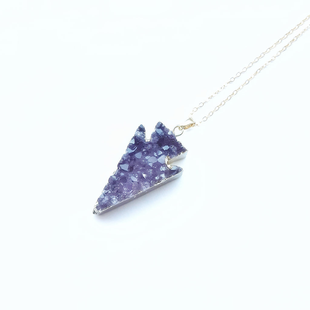 Amethyst Druzy Gold Dipped Arrow Necklace