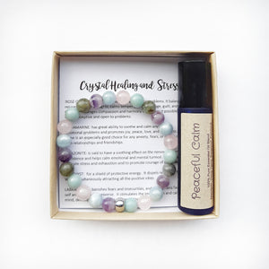 Calming Bracelet and Oil Set- Gift for Stress