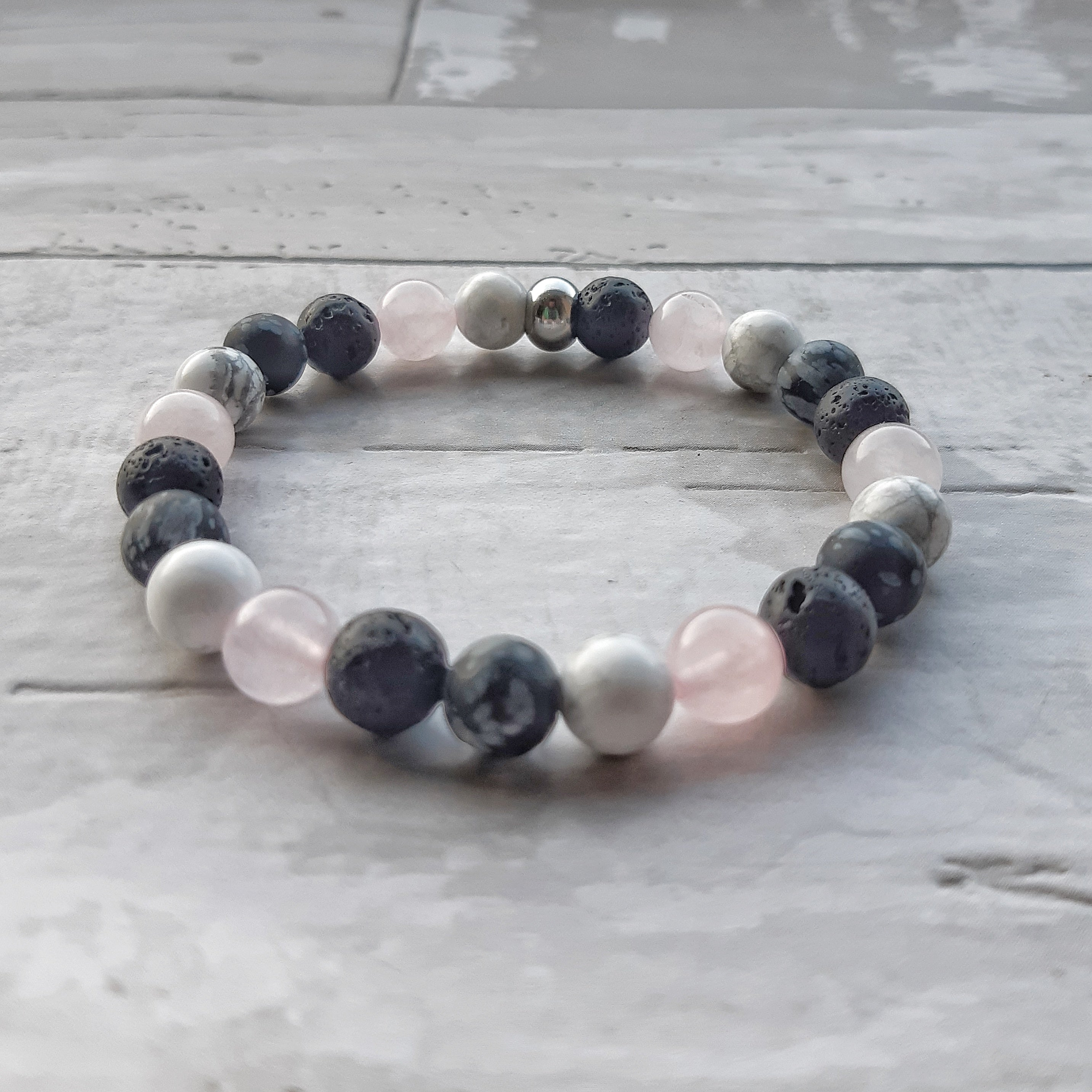 Mixed Gemstone Diffuser Bracelet- Rose Quartz, Howlite and Snowflake Obsidian