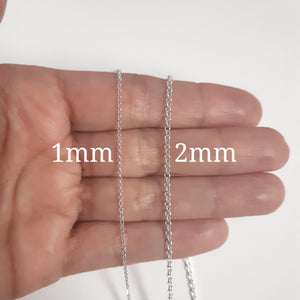 Italian Sterling Silver Diamond Cut Rolo Chain-1mm