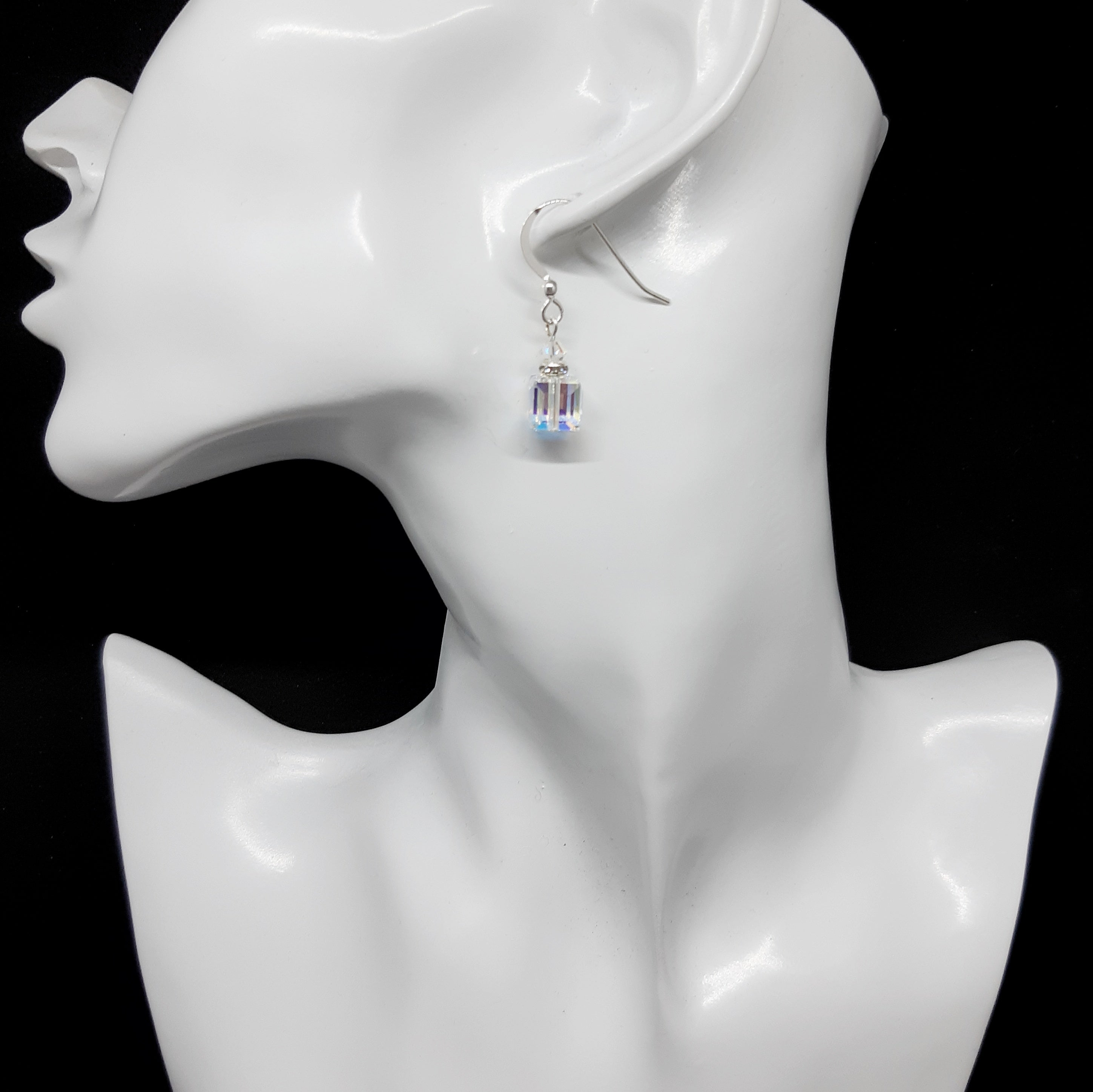 Swarovski Crystal Cube Earrings- Clear ab