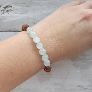 Aquamarine and Sandalwood Bracelet