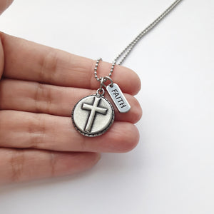Mens Stainless Steel Cross and Faith Necklace