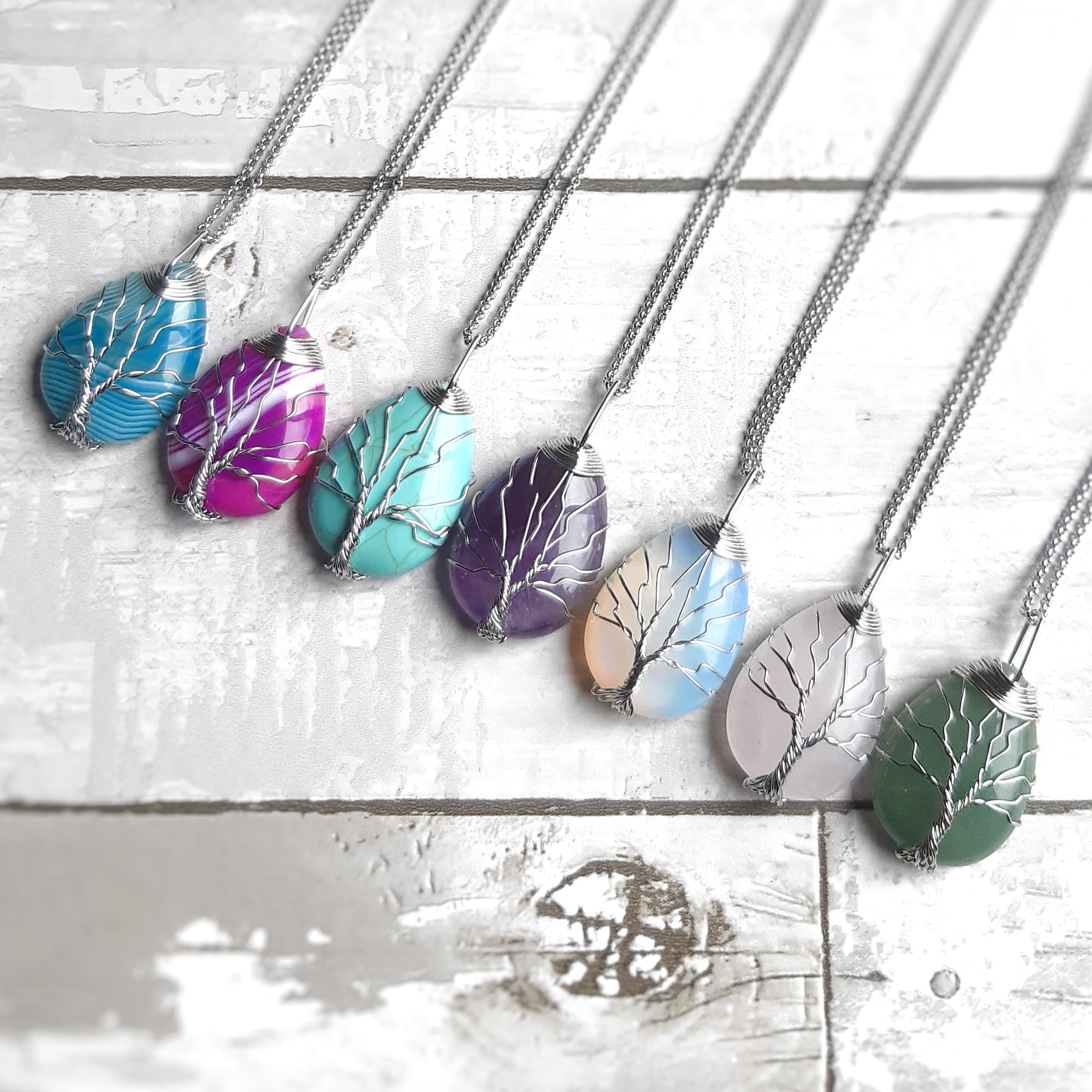 Gemstone Tree of Life Necklaces