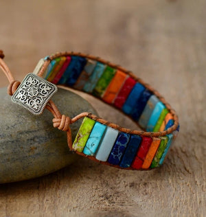 Boho Chakra Gemstone and Leather Bracelet