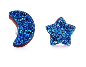 Moon and Star Druzy Silver Earrings- Midnight Blue