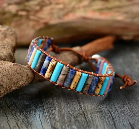 Boho mixed Gemstone Leather Beaded Cuff