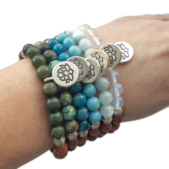 African Turquoise and Sandalwood bracelet