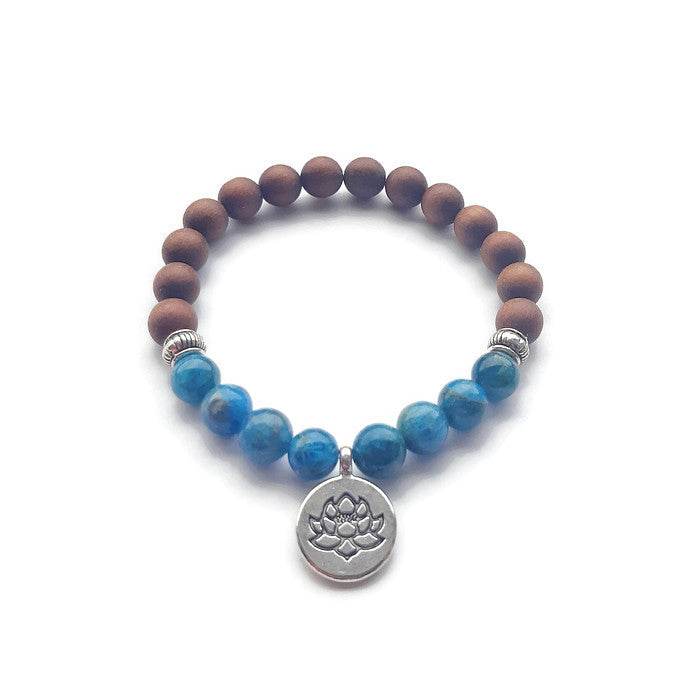 Apatite and Sanadalwood Mala Bracelet