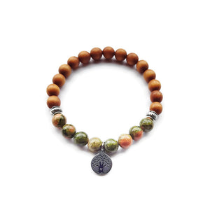 Unakite and Sandalwood Bracelet- Midwife, Doula, Expectant Mother Gift