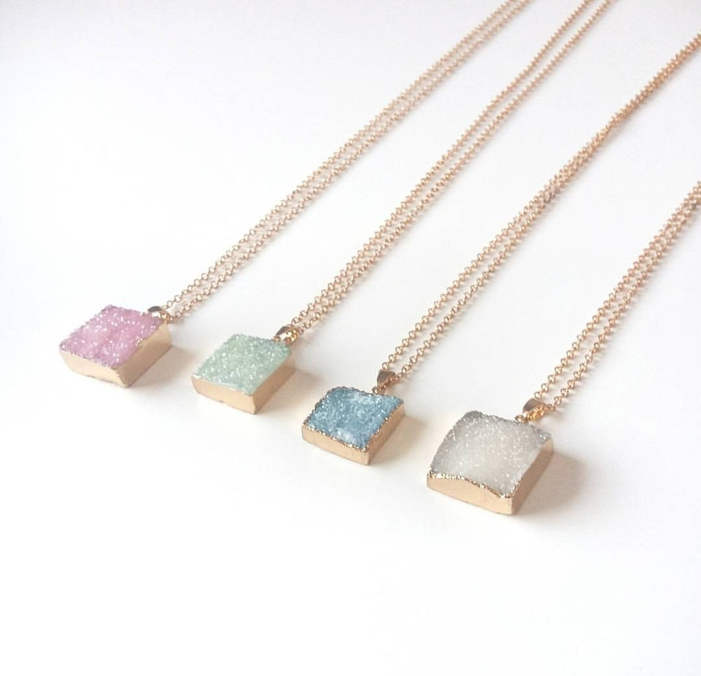 Natural Druzy Gold Dipped Necklaces