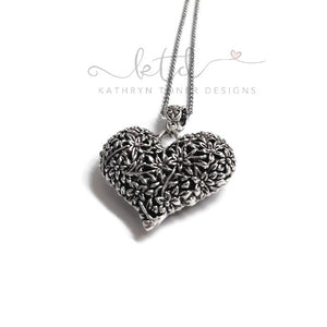 Puffed Heart Antique Silver Necklace