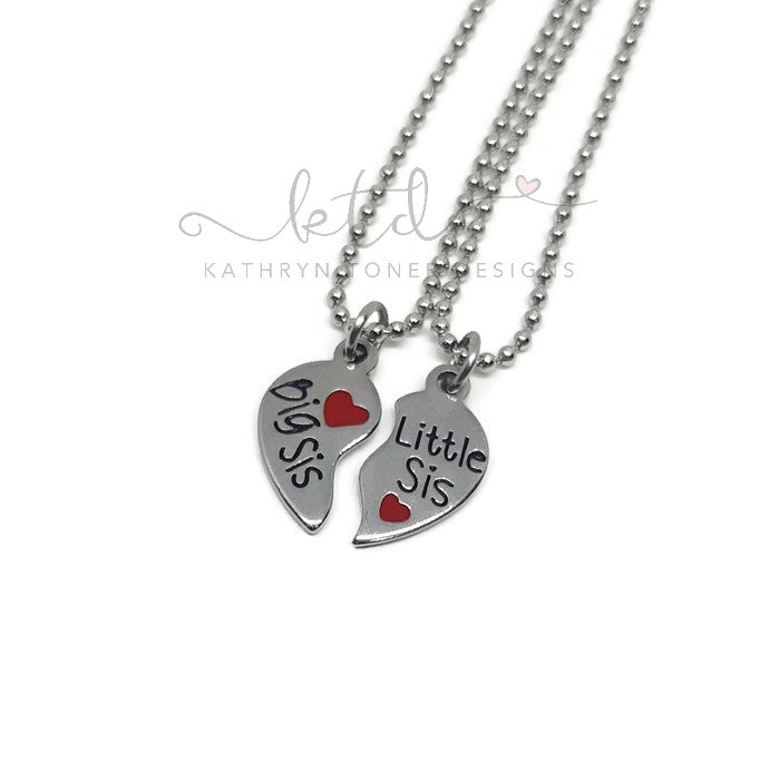 Big Sis/Little Sis 2 Piece Heart Necklace Set