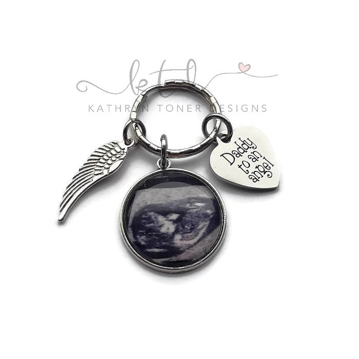 Daddy To An Angel- Personalized Ultrasound Memorial Keychain