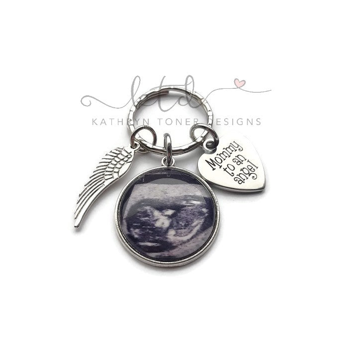 Mommy To An Angel- Personalized Ultrasound Memorial Keychain