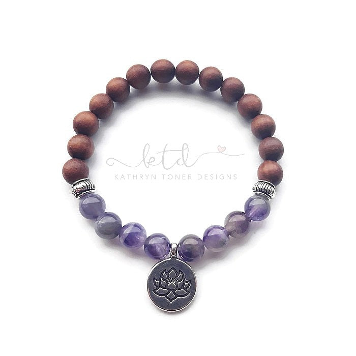 Amethyst and Sandalwood Mala Bracelet