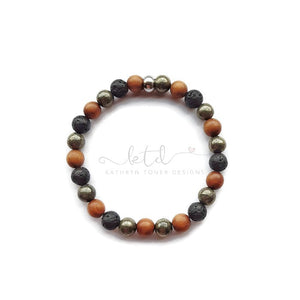 Mens Diffuser Bracelet- Pyrite, Sandalwood and Lava