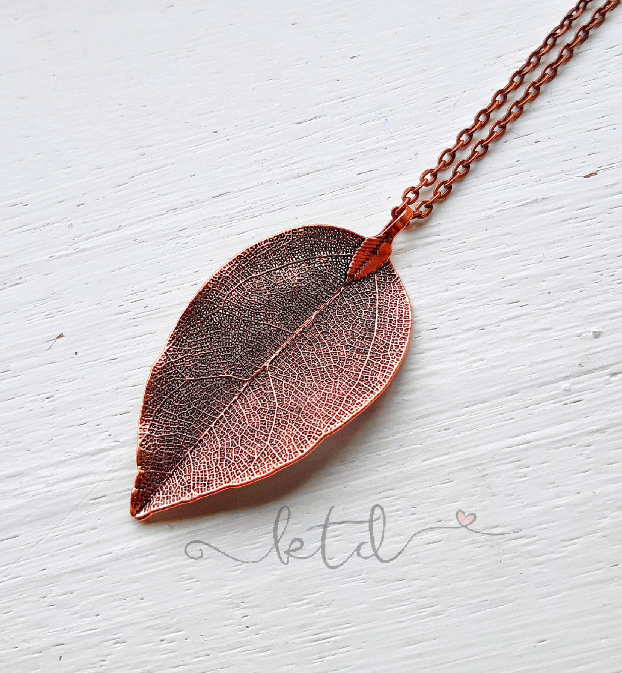 Natural Copper Leaf Necklace