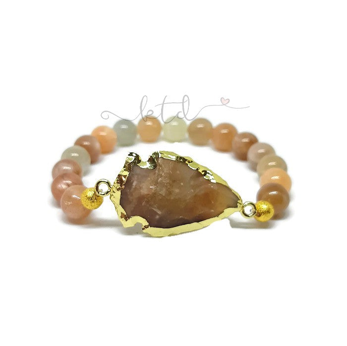 Raw Agate Quartz Arrowhead and Moonstone Bracelet