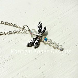 Swarovski Crystal Dragonfly Necklace on Inspirational Card