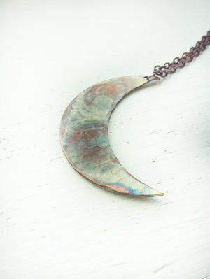 Copper flame painted moon necklace