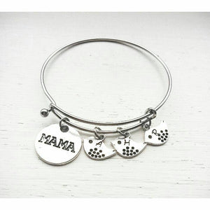 Mama and Baby Bird Bracelet with Hand Stamped Initials