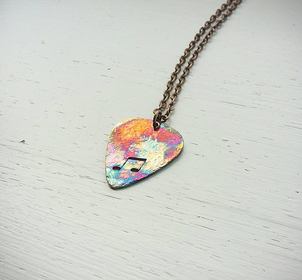 Copper flame painted guitar pic necklace