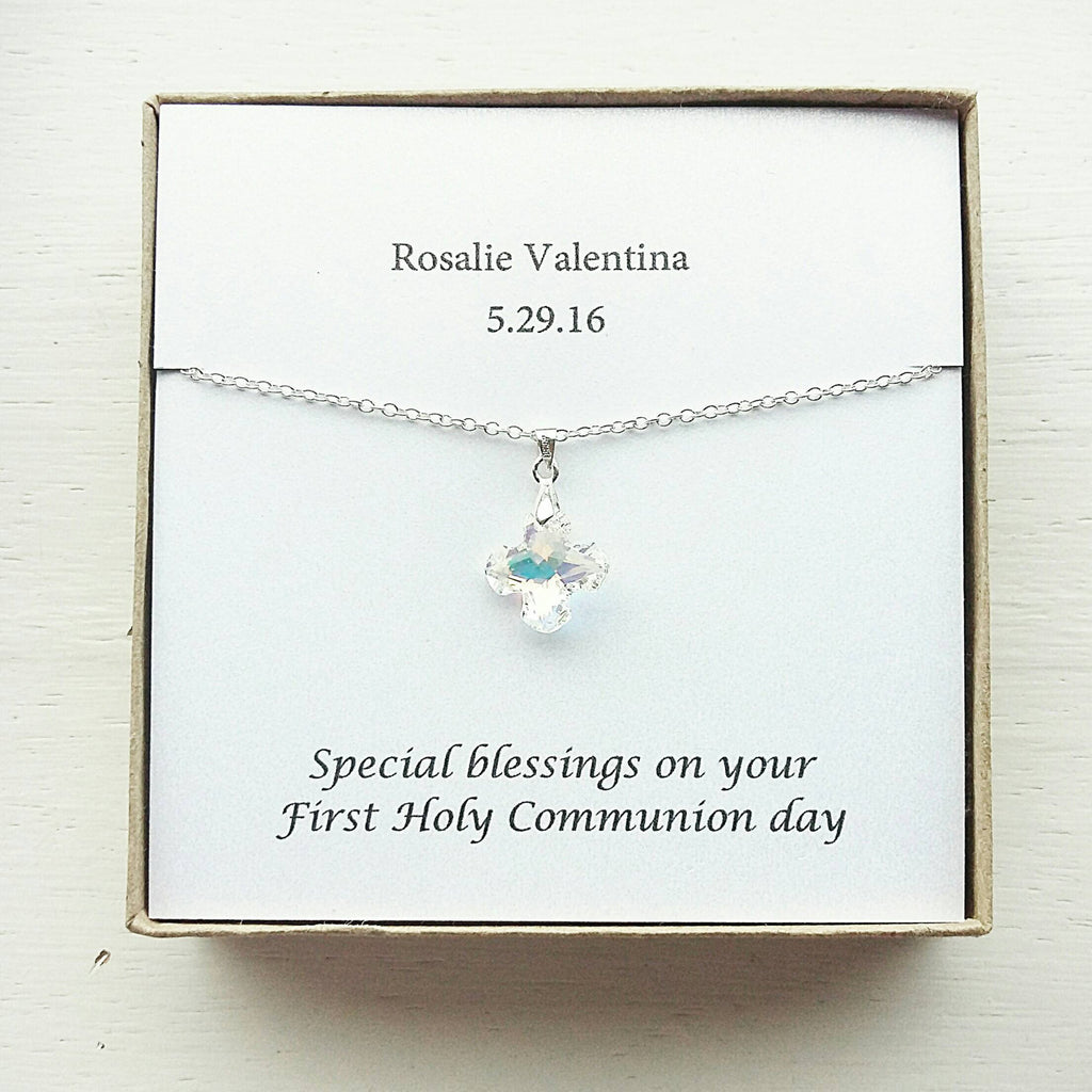 First Communion Swarovski Crystal Cross Necklace