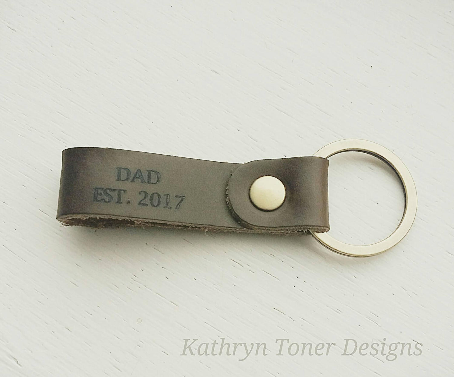 Dad Est. Leather Keychain