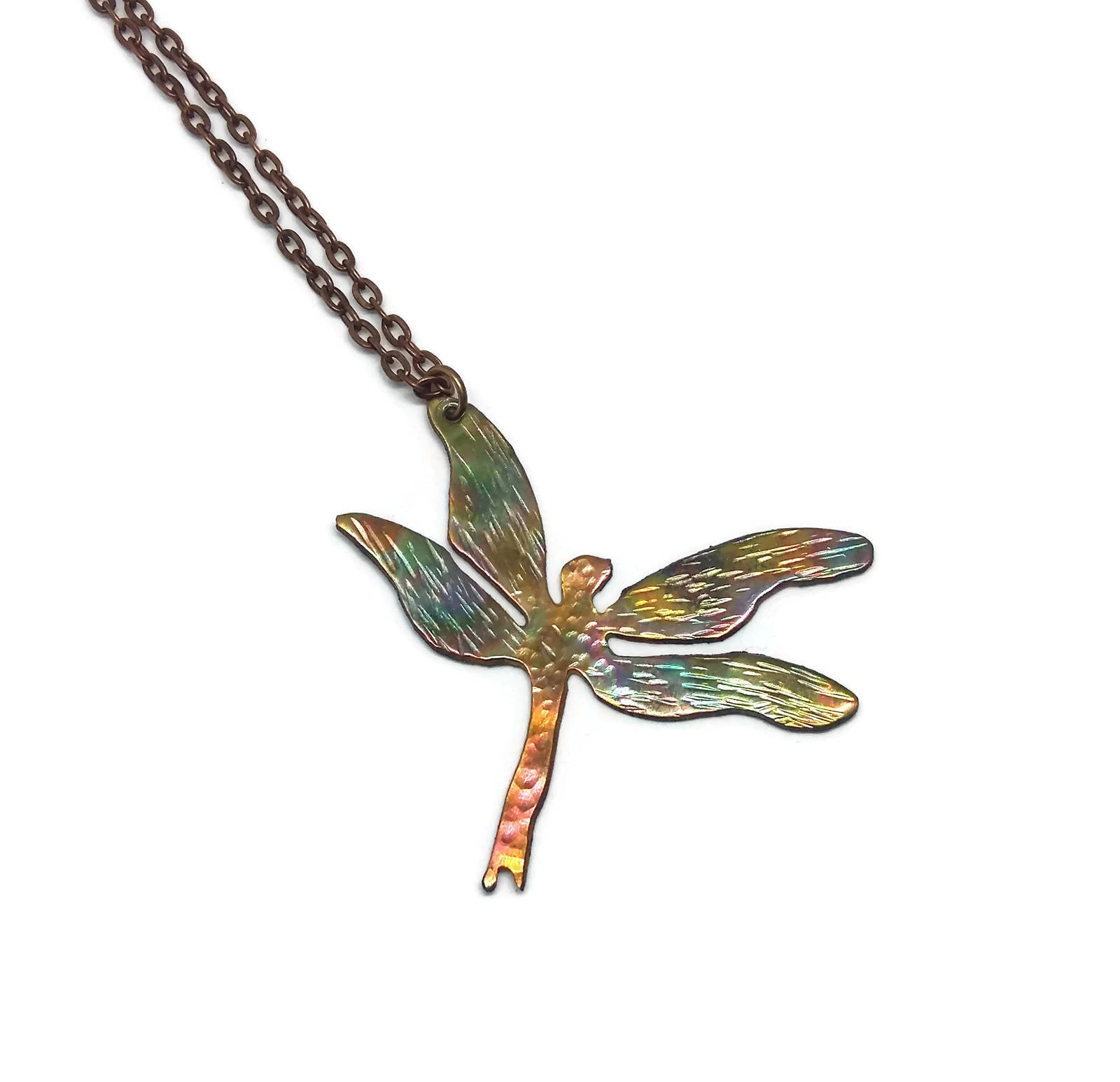 Copper Flame Painted Dragonfly Necklace