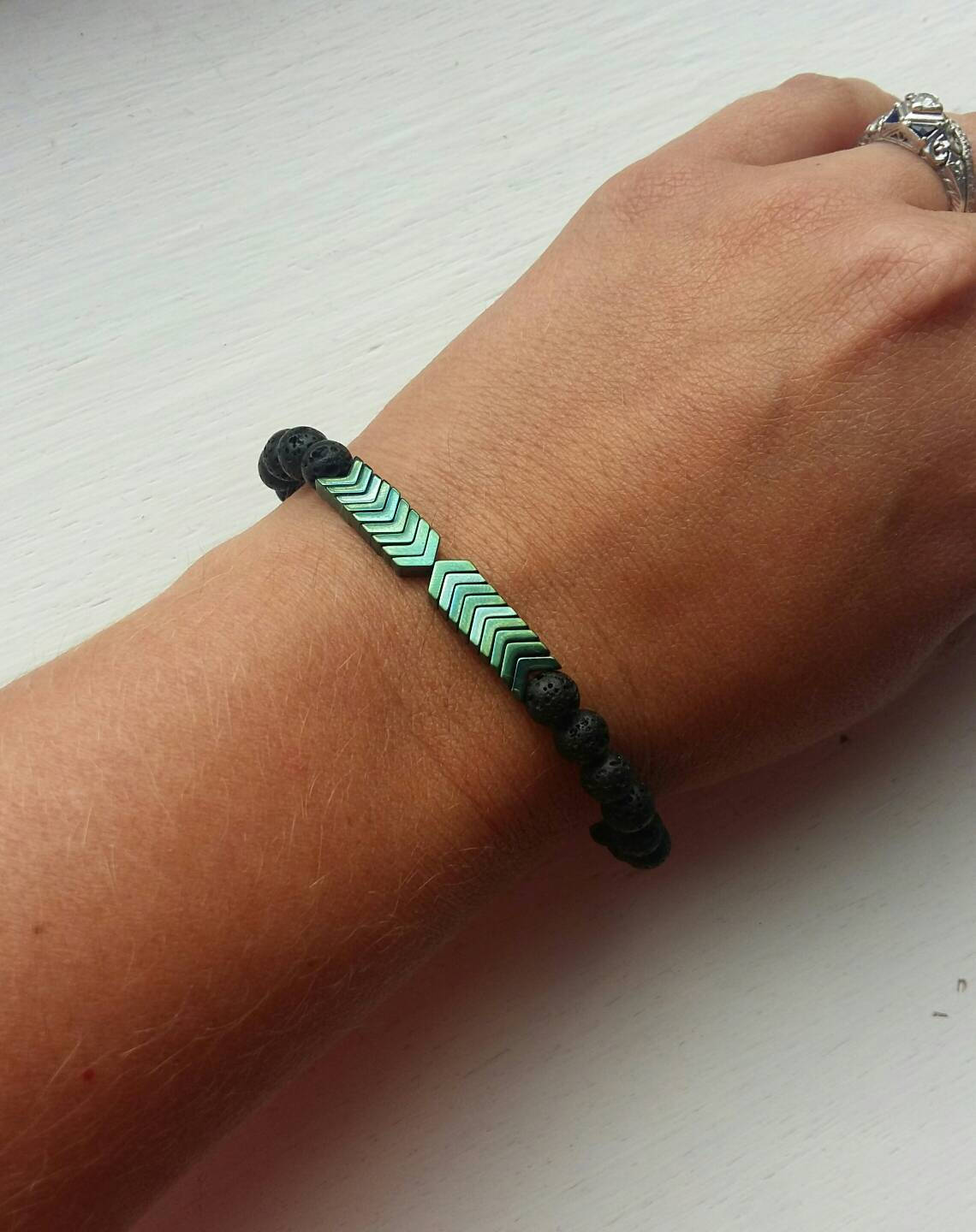 Chevron essential oil diffuser bracelet