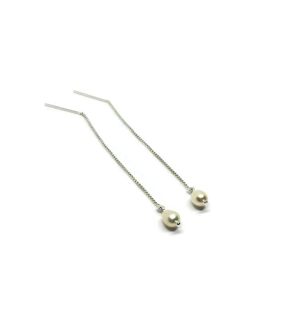Pearl and Sterling Silver Threaded Earrings