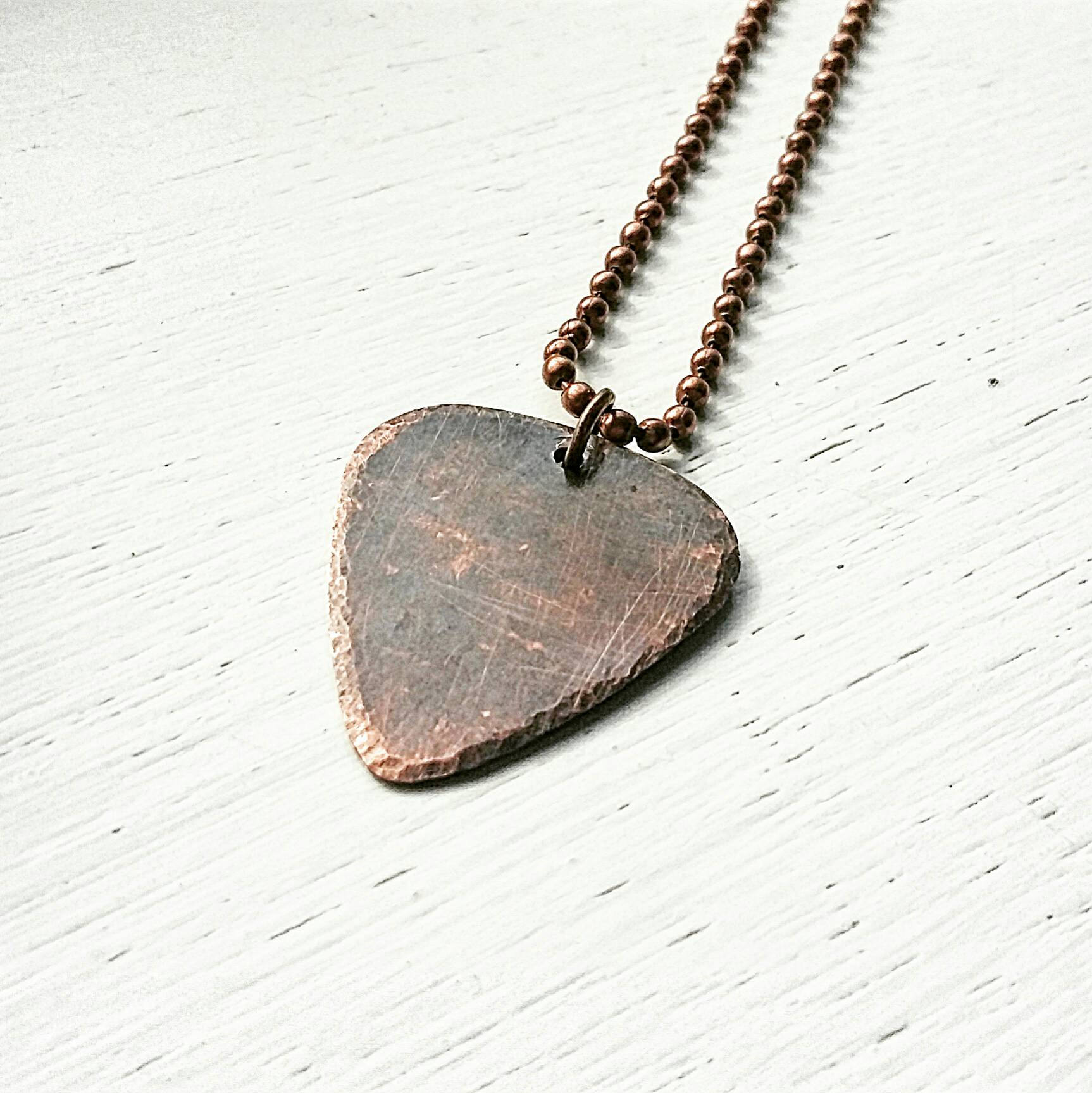Mens Copper Guitar Pick Necklace