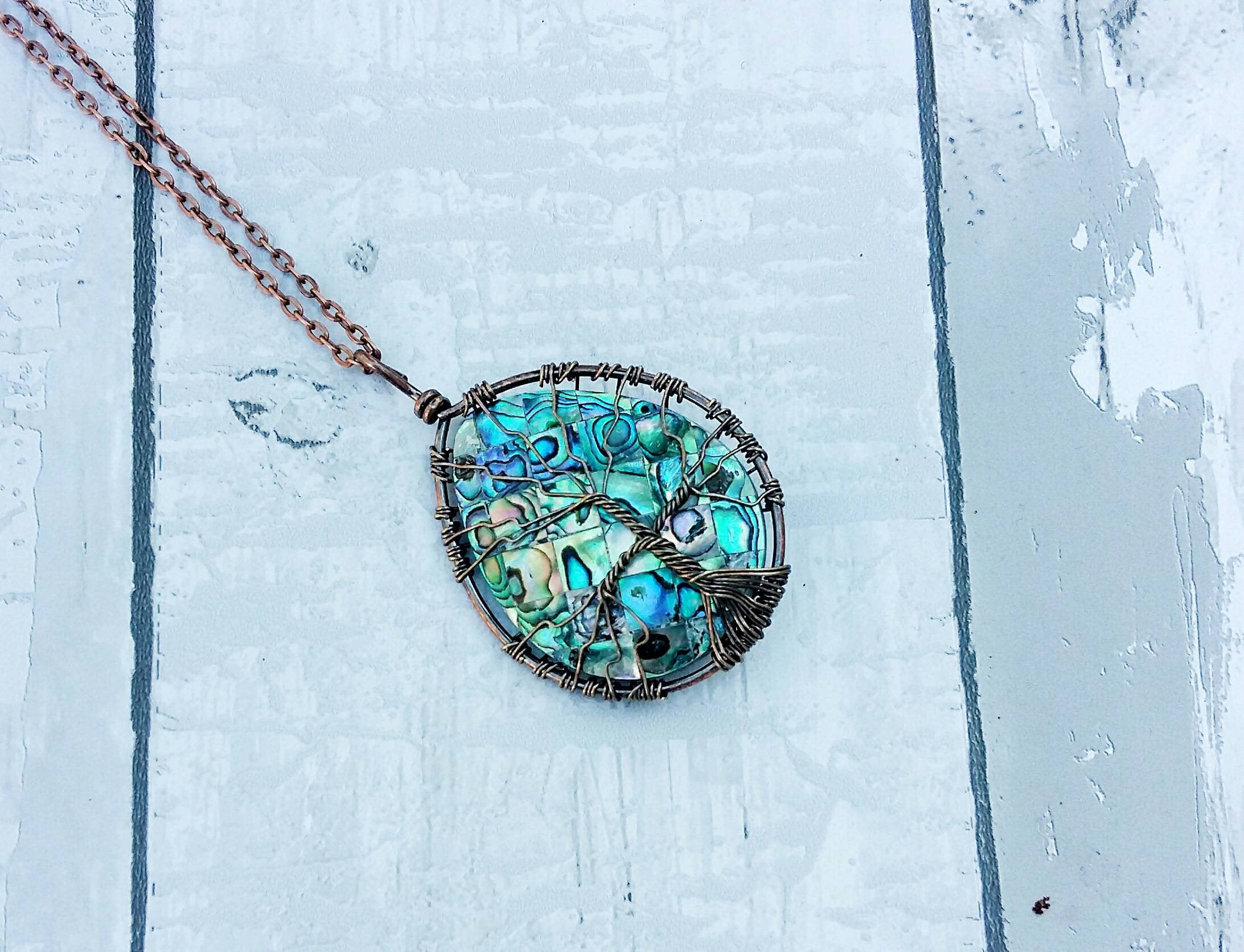Abalone Wire Wrapped Tree of Life Necklace