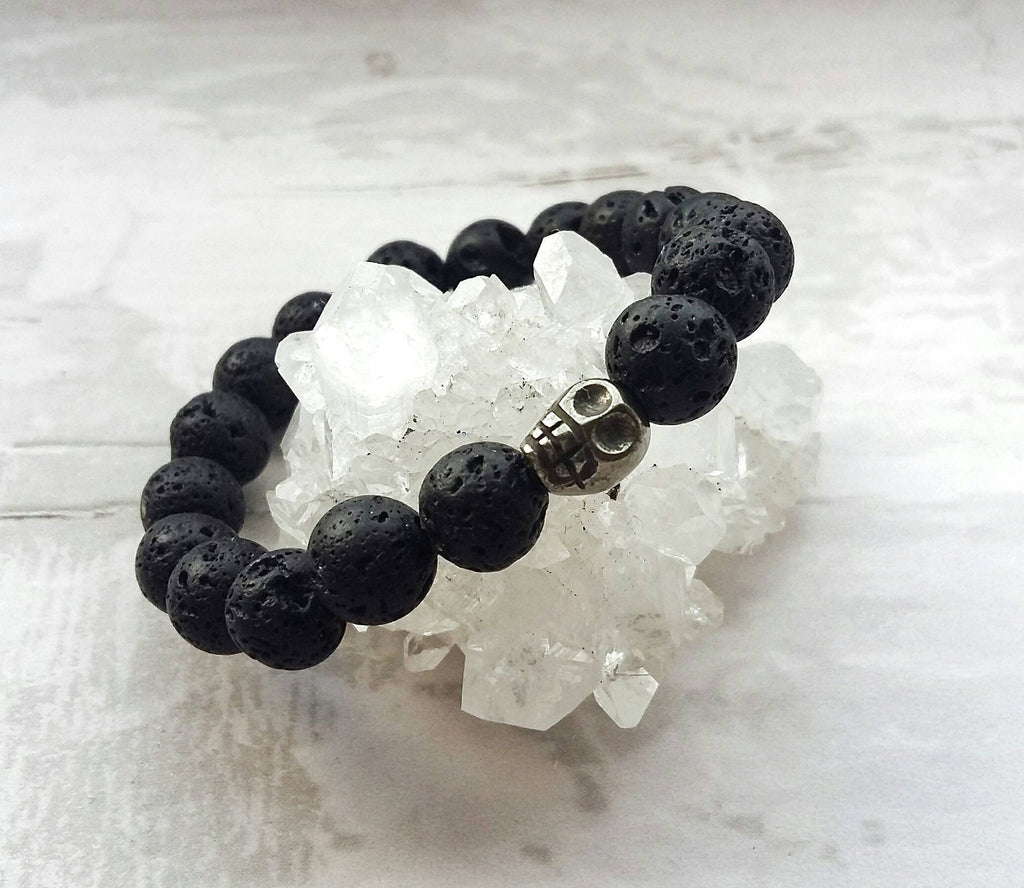 Boys Lava and Pyrite Skull Diffuser Bracelet
