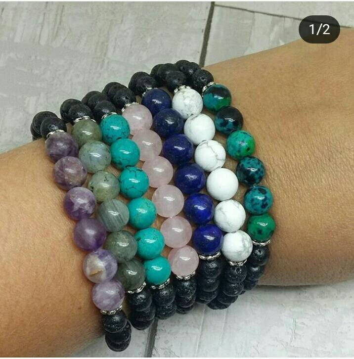 Gemstone and Lava Diffuser Bracelet