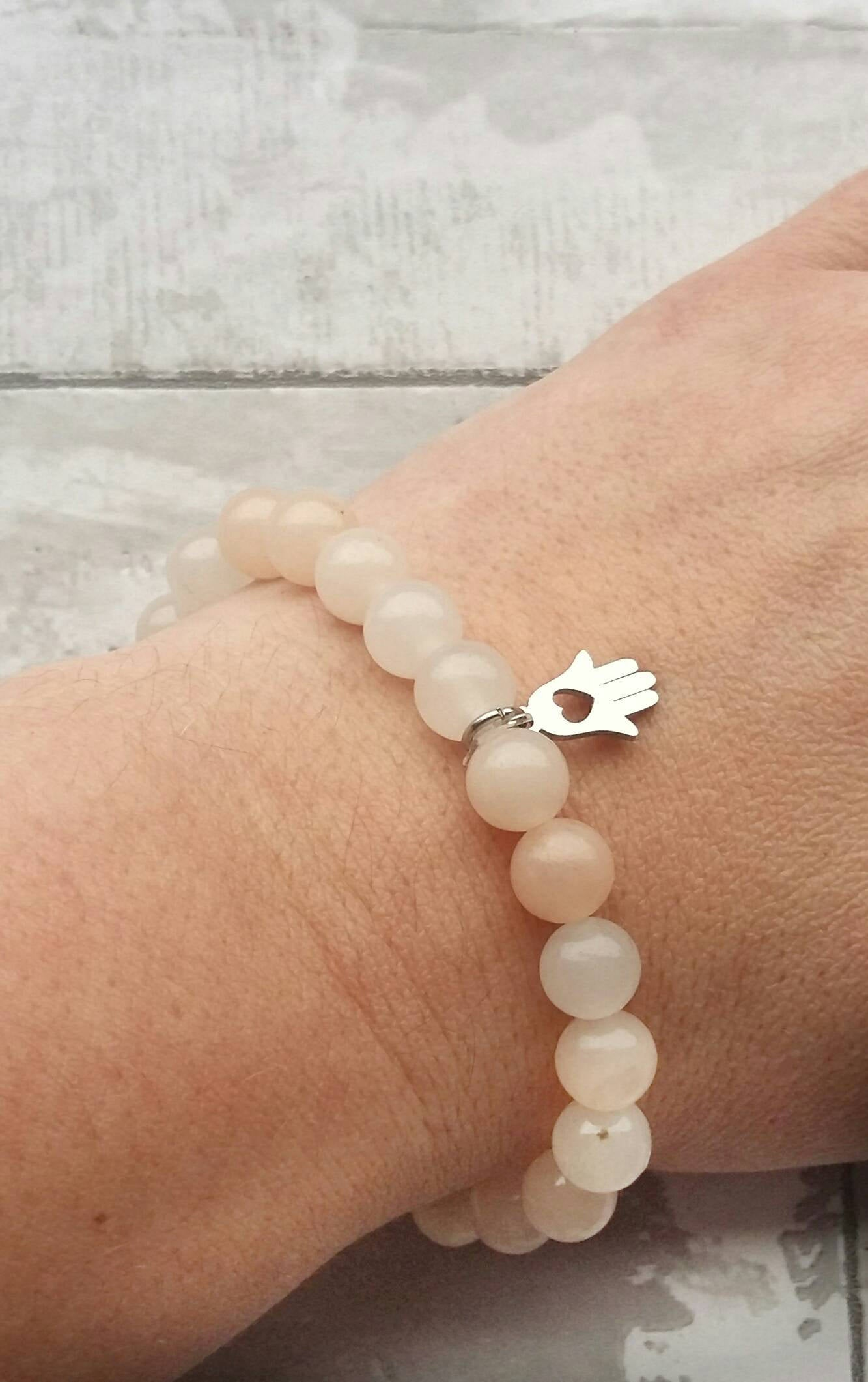 Self love bracelet- crystal healing-depression gift- self empowerment- pink aventurine- self awareness- hand in heart