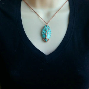 Turquoise Wire Wrapped Tree of Life Necklace