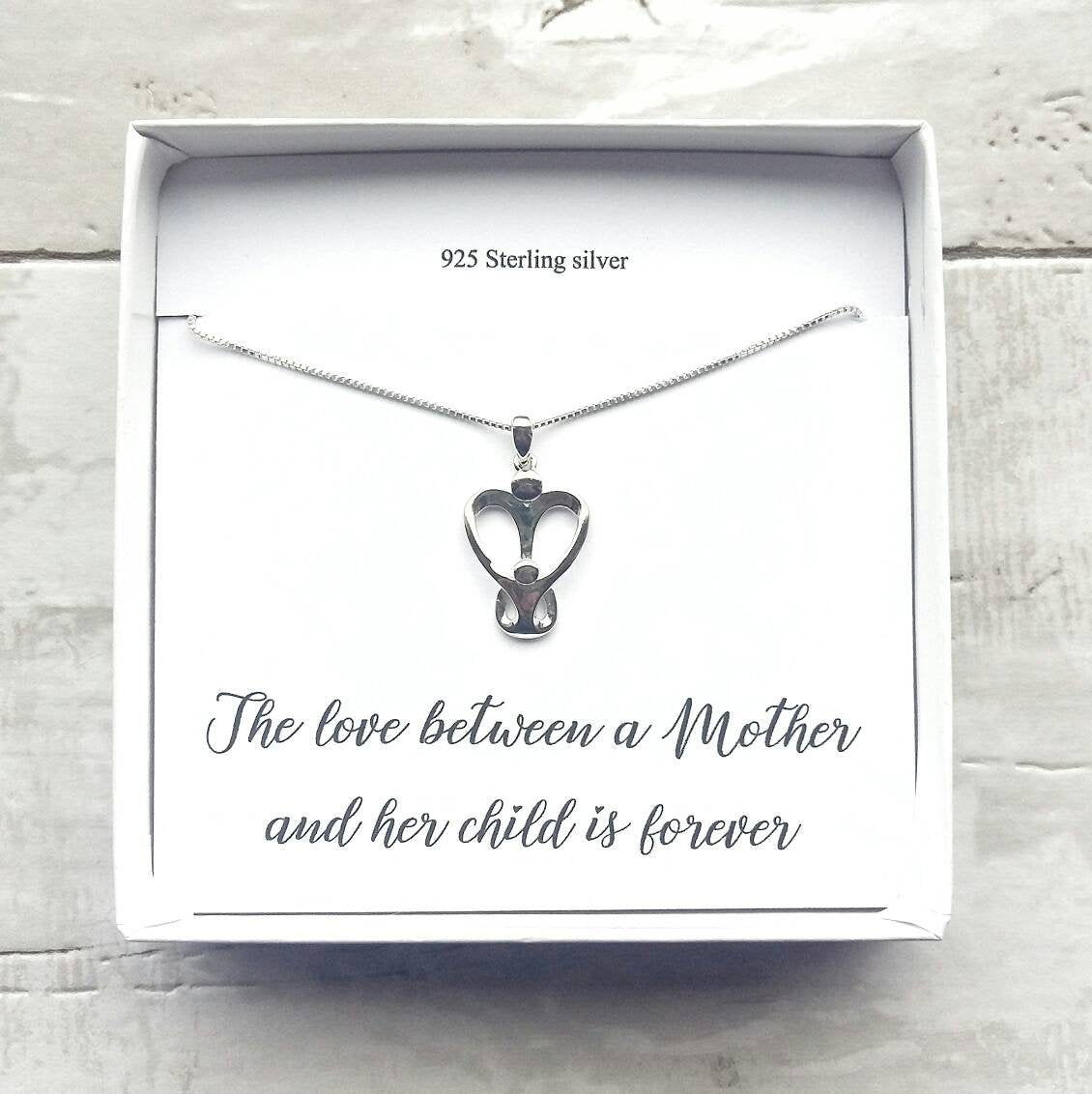 Mother and Child Sterling Silver Necklace