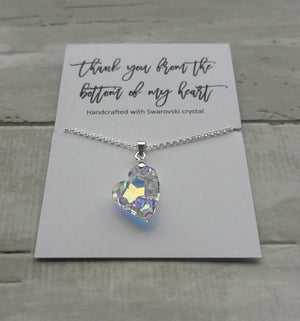 Thank you gift- Swarovski crystal heart necklace-