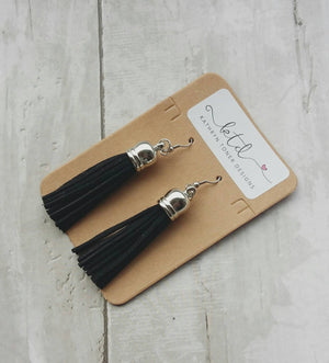 Tassel earrings- suede earrings- leather earrings- vegan leather earrings- boho earrings- tassel- gift for her- fringe earrings- tassel