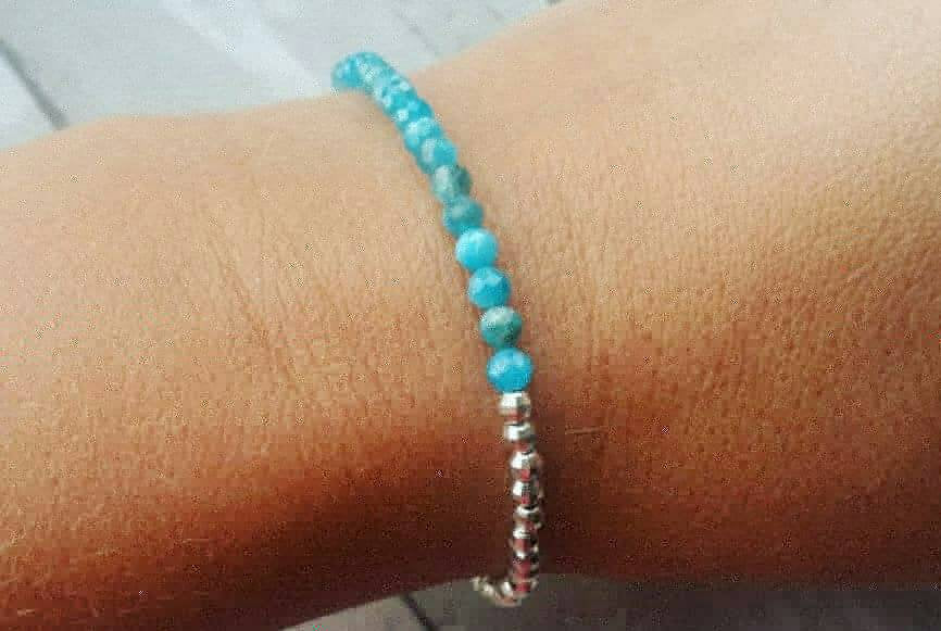 Faceted Apatite and sterling silver dainty bracelet