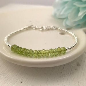 AUGUST BIRTHSTONE:  Dainty Peridot and Sterling Silver Bracelet