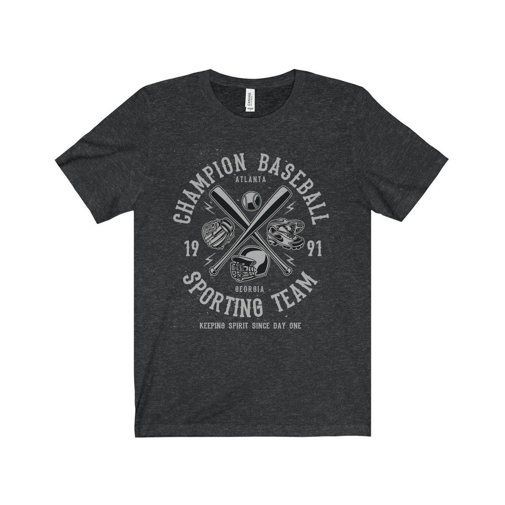 Bella+Canvas Champion Baseball Unisex Jersey Tee Dark Grey Heather / S