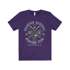 Bella+Canvas Champion Baseball Unisex Jersey Tee Team Purple / S