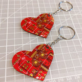 Red Circuit Board Heart Key Chains