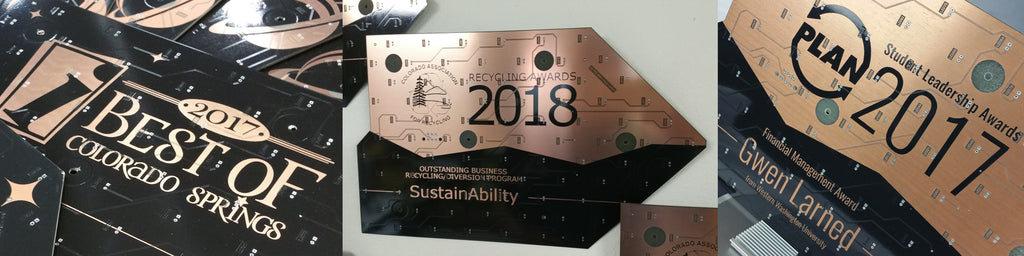 Recycled Circuit Board Award Plaques Laser Engraved