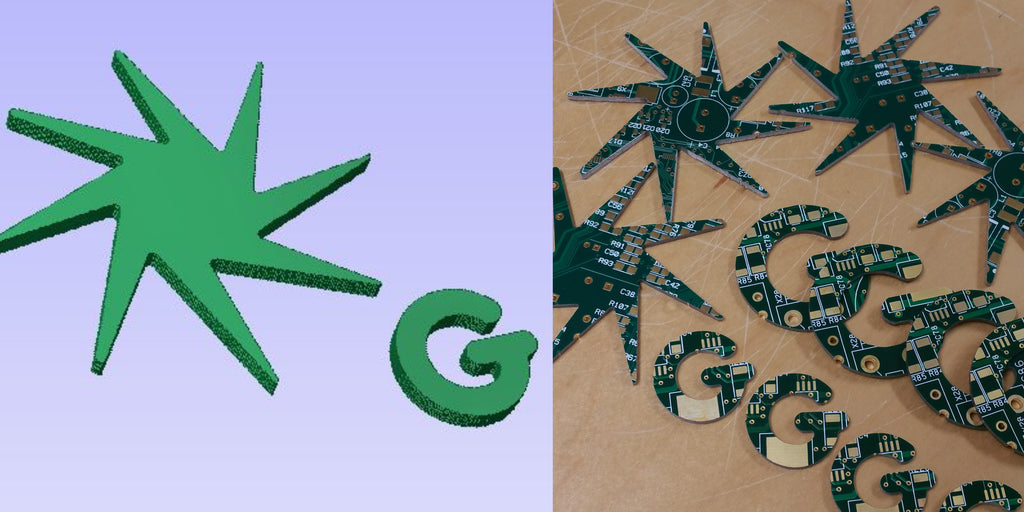 Custom Shapes Cut From Recycled Circuit Board