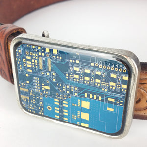Two Tone Blue and Gold Circuit Board Belt BuckleBelt Buckle - TechWears | Recycled Electronics | Circuit Board Jewelry | Home of the Circuit Board Tie |