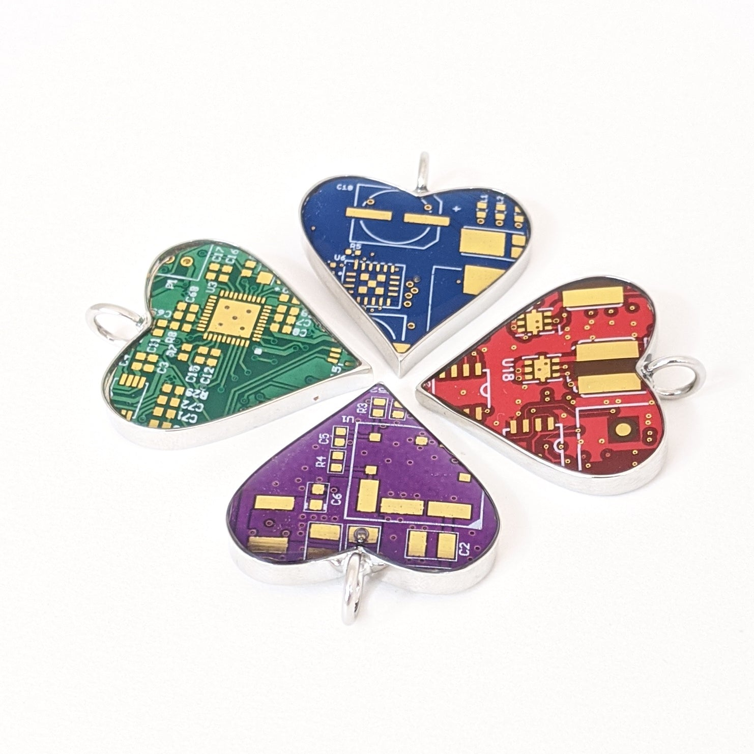 Circuit Board Heart Pendant with Chain |5~Colors| - TechWears Ltd